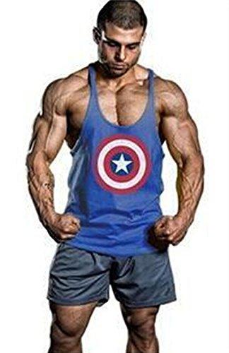 Gillbro Uomo stampati Canottiere Cotone Stringer Bodybuilding Gym canotte,E,XL