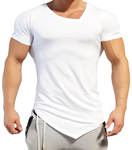 Body Engineers Asymmetric V neck BLACK OUT Gym Shark - ORIGINAL IMPORTED Gym Workout Training T- Shirt - STAND OUT (Medium, White) (Crystal Minaudiere)