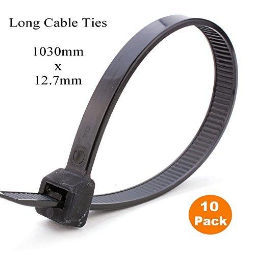 10 x 1 Meter schwarz Extra lange Krawatten 1030mm x 12.7mm Schwerlast Zip Kabelbinder Krawatte, Lange Krawatte