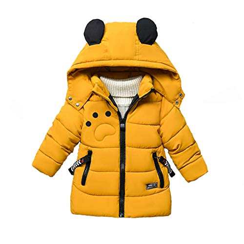SXSHUN Jungen Winterjacke mit Abnehmbarer Kapuze Kinder Verdickte Outdoor Jacke Wintermantel Daunenmantel Daunenjacke, Gelb, 98 (Etikettengröße:L)
