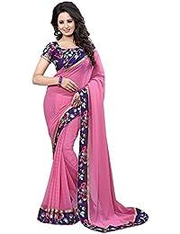 Vivan Trendz Saree Sale Women's Chiffon Sarees With Blouse Piece Sari(Jalwa Sky)