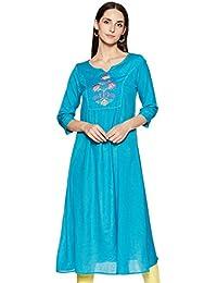 Amazon Brand - Tavasya Women's Rayon a-line Kurti (TAVK052B_Teal_Medium)