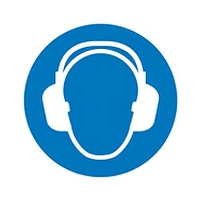 Aufkleber Gehörschutz benutzen Gebotszeichen / Bogen Größe Einzeletikett (Durchm.): 3,0cm Folie 15 Stk/Bogen