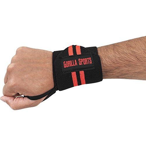 Handgelenk-Bandagen (2er Set) Wrist Wraps 30cm - Profi Handgelenkstütze von Gorilla Sports für Fitness, Bodybuilding, Cross Training, Krafttraining in verschiedenen Farben Farbe Schwarz/Rot (Links Schwarz Handgelenk Wrap)