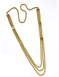 Shree Mauli Creation Golden AlloyGolden Ball 3 Line Necklace For Women SMCN942