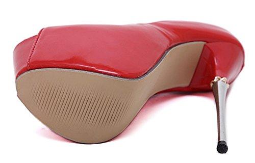 Aisun Damen Sexy Ultra High Heels Metall Plateau Peep Toe Sandalen Pumps Rot