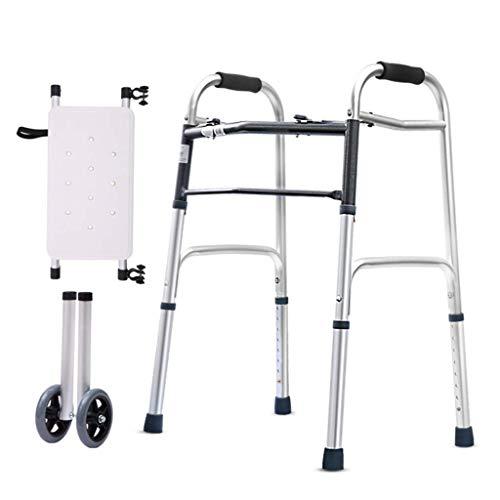 Ergonomische Klapp-krücken (AILSAYA Walking Aid Cane Chair Ältere Armlehne Leichter Aluminium-rollator Mit Gepolstertem Sitz Vierbeiniger älterer Walker Riemenscheibe Senior Walker Teleskop-klapp-Walker-krücken Aids Disabled)