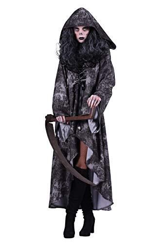 Damen Horror-Kutte Deluxe Sensenmann-Kostüm Schwarz mit Skelett-Aufdruck, Scherpe für Fasching, Karneval und - Deluxe Sensenmann Kostüm