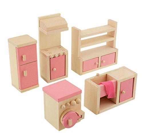 �bel Set Holz Puppenhaus Kinderzimmer Badezimmer Schlafzimmer Wohnzimmer Küche Miniatur Möbel Zubehör Puppenhausmöbel Holz (Küche) ()