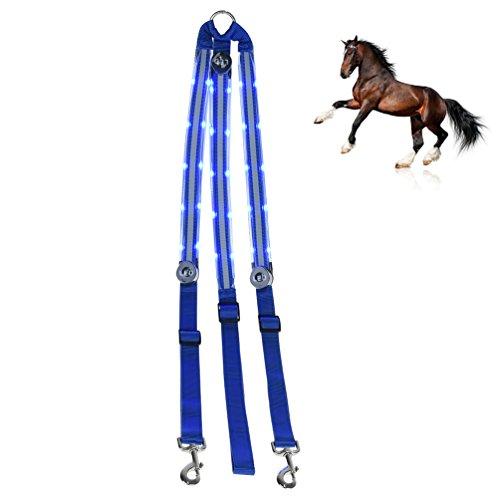 Petacc LED Pferdebrusthalsband Wiederaufladbare Pferdebrusthalsbänder Hochsichtbare Pferdebrustplatten, Blau