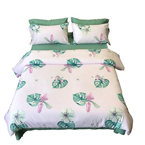 4 Stück King Quilt (BTXZM Quilt-Set, Bettwäsche, Kissenbezüge, Baumwollbettwäsche 4 Stück, King-Bett Super Soft Simple Green Leaf Schlafzimmer-Set (größe : 2.0m Bed))