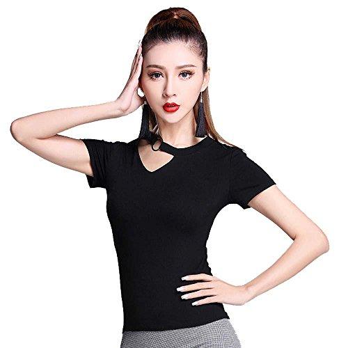 Welt Kostüm Stämme Der (YI WELT Frau tanzen Kleidung Kind Lateinischer Tanz Kurze Ärmel Mantel Baumwolle Kleid schwarz , black ,)