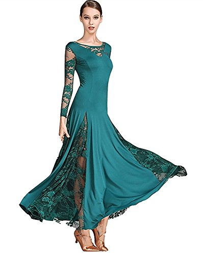 Palama eu Modern Tanz Waltz National Standard Tango Ballroom Kleid One Piece Kostüme (XXL, Grün) (Swing Ballroom Tanz Kostüme)