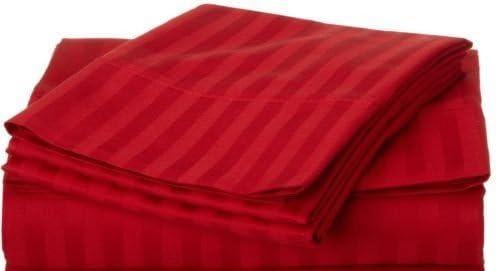 Dreamz lenzuola Super morbido 650 thread count cm) elegante finitura con angoli (profonda tasca  61 cm) count Euro extra piccolo singolo, striscia rossa c9bcb1