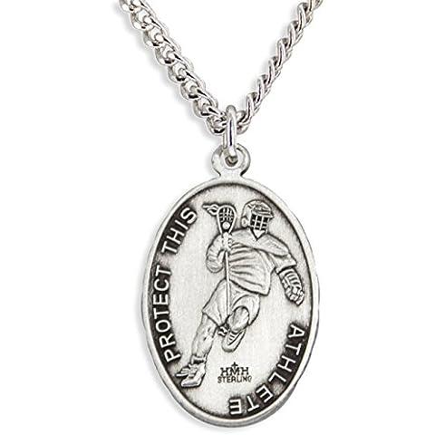 Niño oval St. Christopher Medalla de LaCrosse + 24inch interminable cadena de acero inoxidable