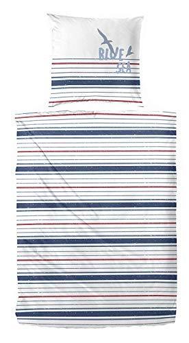 Primera Bettwäsche 133029 Perkal 100% Baumwolle Weiß Rot Blau Blue Sea (135x200 + 80x80 cm) -