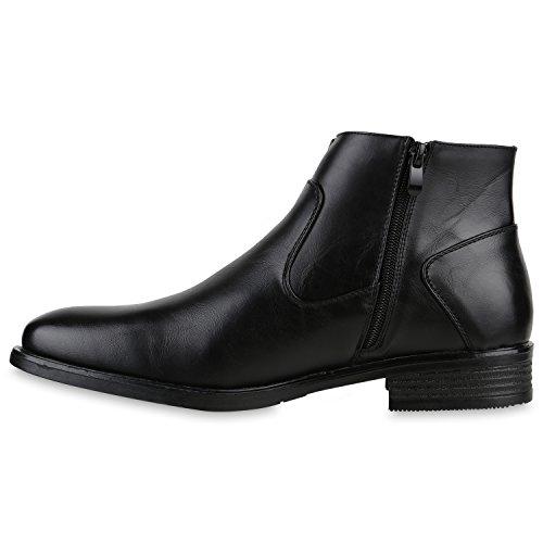 Klassische Herren Boots Stiefel Lederoptik Schuhe Business Schwarz
