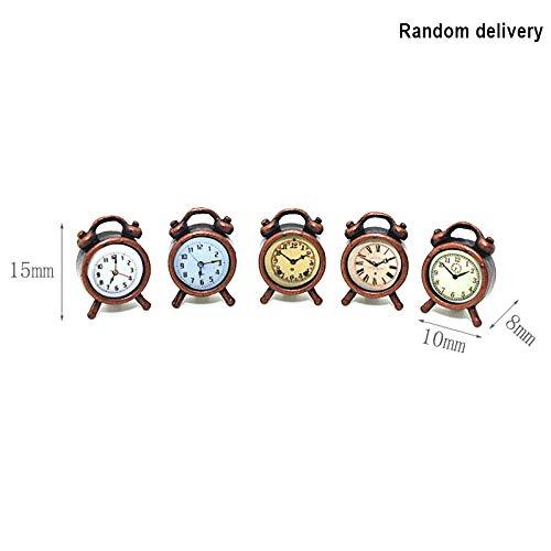 ZREAL 1:12 Miniatur Wecker Modell Legierung Vintage Uhren Puppenhaus Dekoration Zubehör