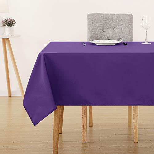 Deconovo Tischdecke Wasserabweisend Tischwäsche Lotuseffekt Tischtuch 130x130 cm Lila