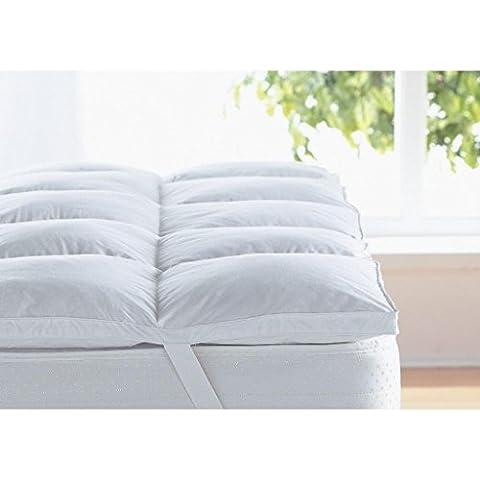 Love2Sleep blanco suave para plumas y plumón de ganso para colchón/cama de plumas. 100% CRISP algodón antiácaros grueso TOPPER–tamaño KING