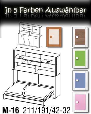 Kinderbett Schrankbett Children Foldaway bed inkl.Matratze in der Farbe Weiß / Akazie - 3