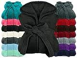 npluseins extra weicher Kapuzen-Bademantel aus Kuschelfleece - in modernen Farben und verschiedenen Größen - Unisex & wadenlang, M, schwarz