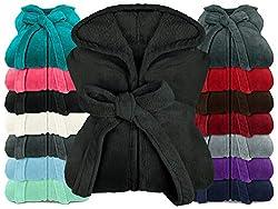 npluseins extra weicher Kapuzen-Bademantel aus Kuschelfleece - in modernen Farben und verschiedenen Größen - Unisex & wadenlang, L, schwarz
