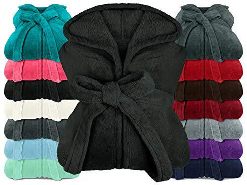 npluseins extra weicher Kapuzen-Bademantel aus Kuschelfleece - in modernen Farben und verschiedenen Größen - Unisex & wadenlang, XL, schwarz