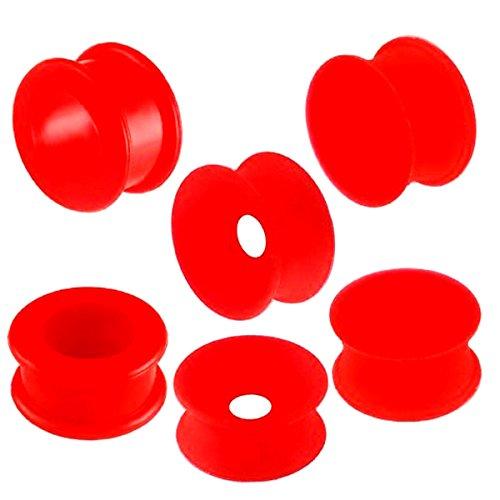 6er set 20mm 3/4 Rot Silikon Flexibel Flesh dehnen ohren plug ring Piercing körperschmuck Double Flare ABCD
