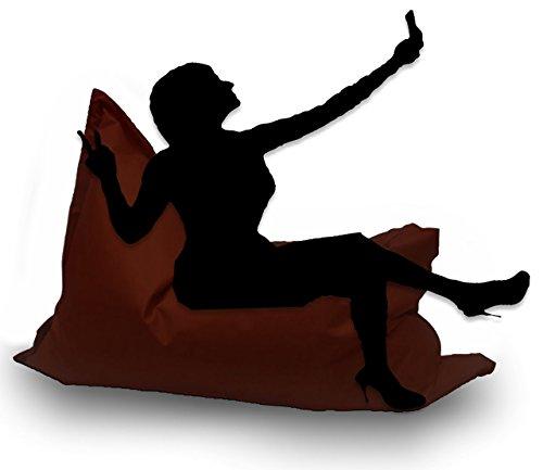 Sitzsack XL 145 x 100 cm mit Füllung - Farbe & Größe Wählbar- In & Outdoor Sitzsäcke Sessel Kissen Sofa Hocker Sitzkissen Bodenkissen (ca.145x100cm, Braun)