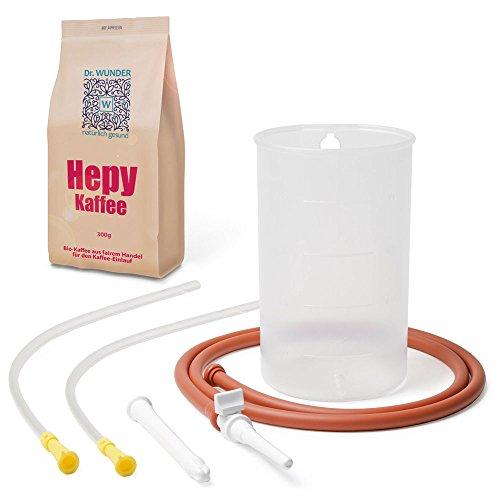 Dr. Wunder Kaffeeeinlauf-Set 1-Liter inkl. 2x Darmrohr: Komplettes Irrigator-Set – 2x Einlaufhilfe – Hepy-Einlaufkaffee ||zur effektiven Darmreinigung || inkl. Anleitung zur