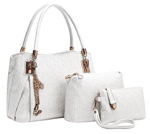 Coofit Femmes Vintage Sac à main en cuir bandoulière Satchel Blanc girls sac portes main femme