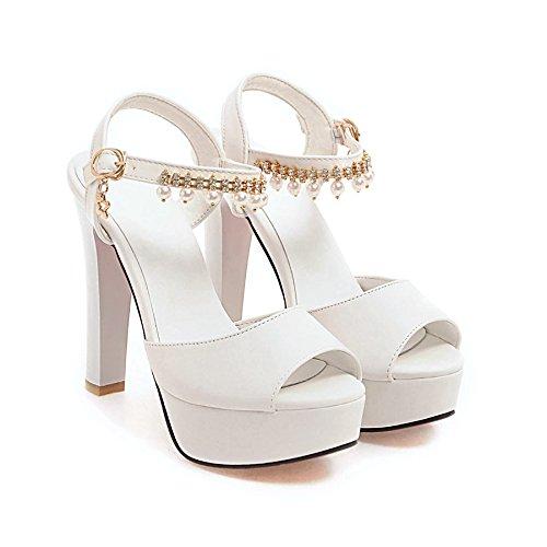 fan4zame Sandalen Damen Sommer mit dick High Heels Wasser Tisch Fische Mund Schuhe Cool bequem atmungsaktiv Sandalen 37 white high heels 12CM