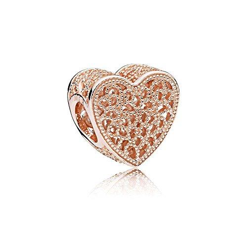 Pandora Damen Rose Filigranarbeit & Metallperlen Herz-Charm 14 Karat rosévergoldete Metalllegierung 781811