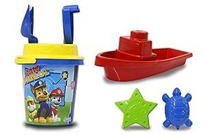 Jamara 410124 Paw Patrol - Juego de Cubo y Pala (7 Piezas, 2 moldes, 1 Barco, 1 colador de Arena), Color Amarillo