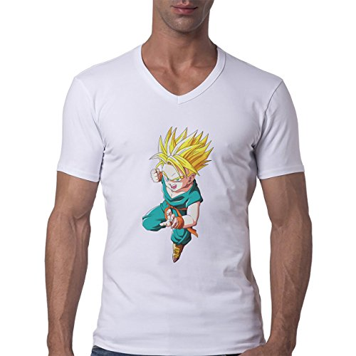 Dragon Ball Super Trunks Saiyan Charge Ready Fight Herren V-Neck T-Shirt Weiß