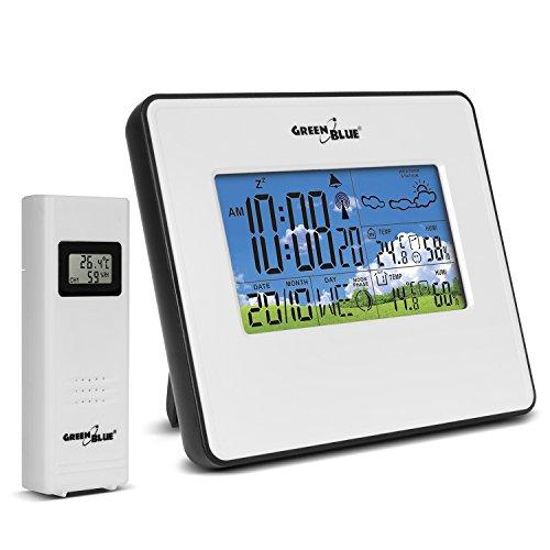 Preisvergleich Produktbild GreenBlue GB147 Funk Wetterstation mit Außensensor / Weckerfunktion weiß