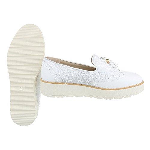 Slipper Damenschuhe Low-Top Moderne Ital-Design Halbschuhe Weiß