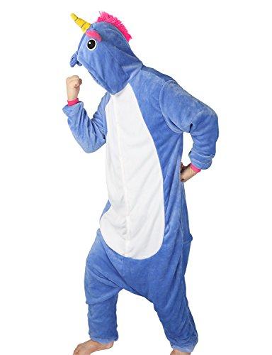 Très Chic Mailanda Pigiama Donna Uomo Unicorno Cosplay Animato Costume Camicie da Notte Carnevale Halloween (altezza 168-178cm), Blu scuro unicorno