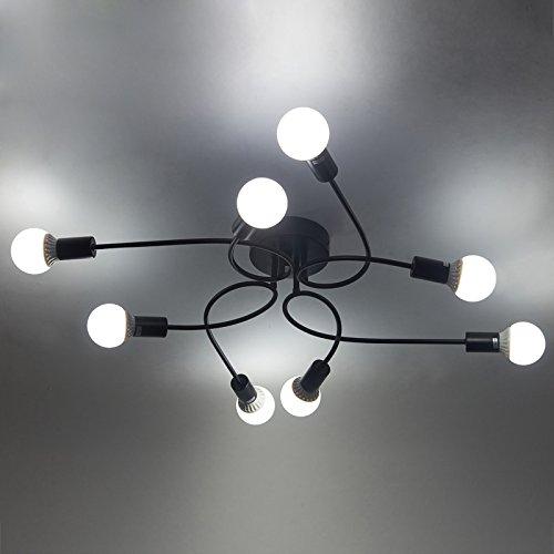 BAYCHEER Industrielampe Deckleuchte Deckenlampe 8 Flammige Lampenfassung Schmiedeeisen Lampe Kronleuchte Pendellampe (8 lampen-1)