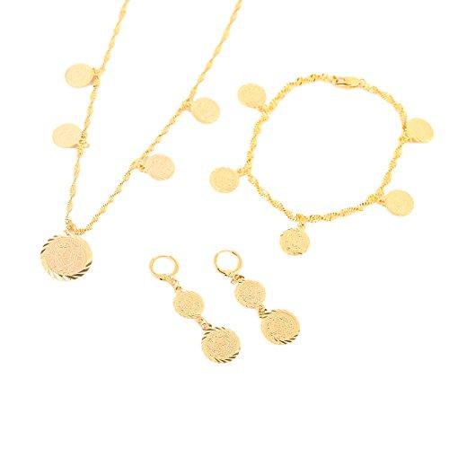 Schmuck-Set für Frauen mit Halskette, Ohrringen und islamischem Muslim, arabischem Allah Münze, 24 Karat Gold