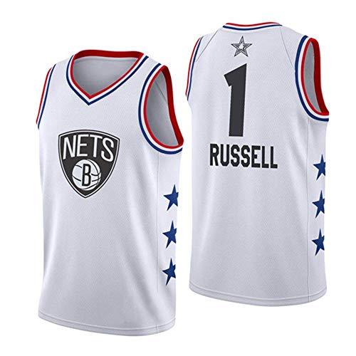 J-Met Herren-Basketballtrikots, NBA Brooklyn Nets #1 D\'Angelo Russell Sommerwesten Oberteile Ärmellose T-Shirts (Größe: S-XXL)
