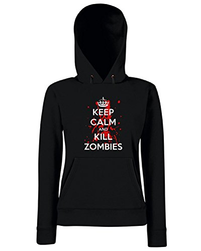 T-Shirtshock - Felpa Donna Cappuccio TZOM0040 keep calm and kill zombies (3), Taglia S