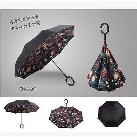 CNMKLM Auto reversa, tipo c-paraguas publicidad inversa doble gratis al aire libre sol paraguas sombrillas , Carmine