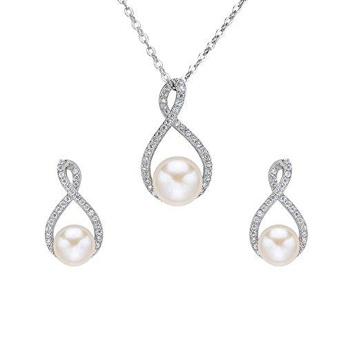 EVER FAITH Damen 925 Sterling Silber CZ Süßwasser kultiviert Perle 8 Unendlichkeit Halskette...