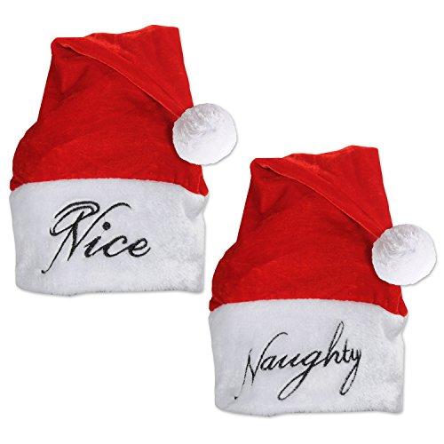 Beistle 227502piece Plüsch NAUGHTY/schönen Santa Hüte, rot/weiß/schwarz