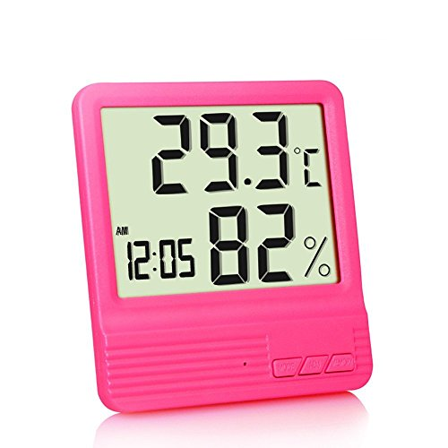 Galleria fotografica GuDoQi Igrometro Elettronico Igiene Elettronico Calendario Igrometro Elettronico Igrometro Digitale Display Multifunzione Termometro Rosso