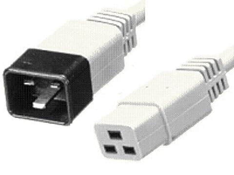 Câble d'extension d'alimentation IEC C20mâle vers IEC C19prise femelle Blanc 2.5m
