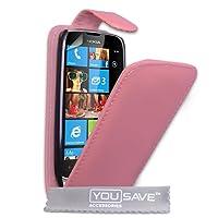 Nokia Lumia 610 PU Leather Flip Case Baby Pink