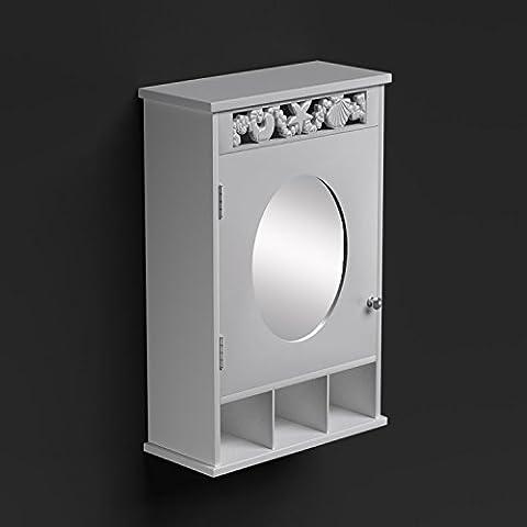 St Tropez de Salle de Bain Miroir Armoire porte en bois lavabo Panier à linge RANGEMENT étagère armoire de rangement intérieur, blanc, Mirrored Cabinet